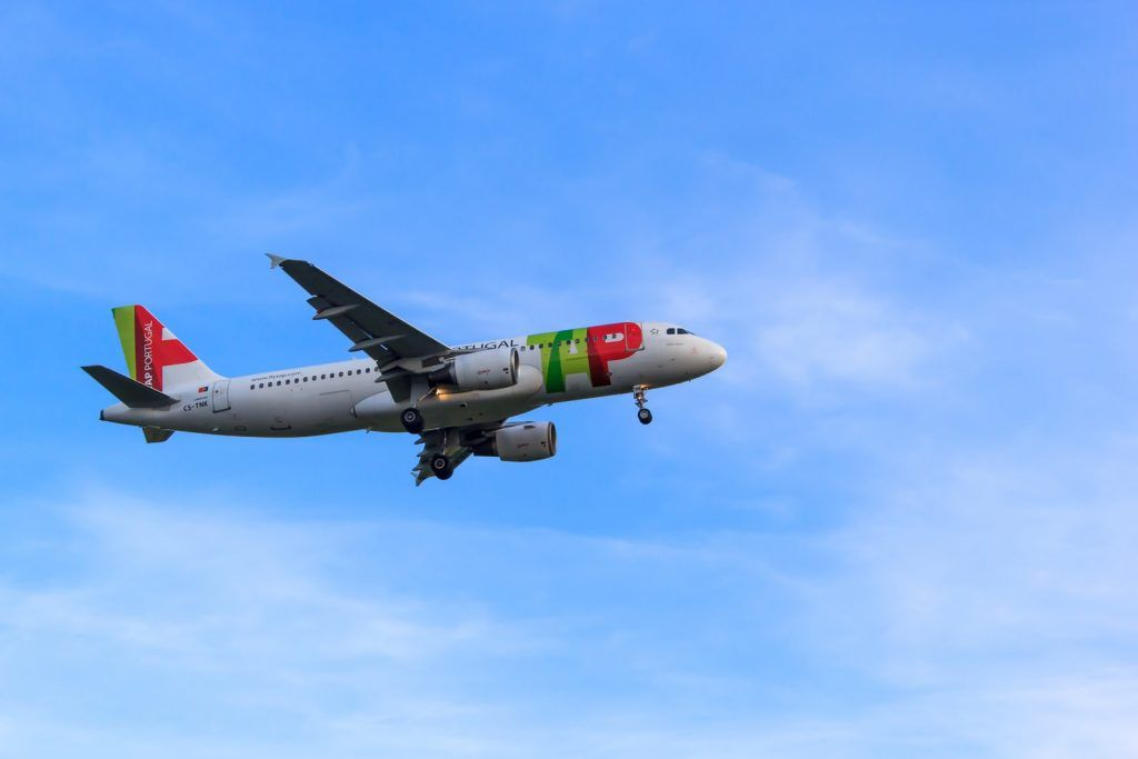 white, red, and green airliner